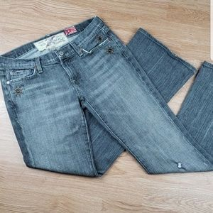 7 For All Mankind Distressed Embellished Jean 29